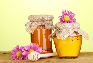 Sweet honey in jars with drizzler