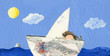 Little boy and cat sailing