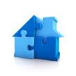 Puzzle house blue