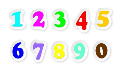 Numeri Colorati Stickers Numbers Sign Colors-Vector