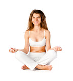 young woman sitting in yoga pose