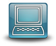 "Light Blue 3D Effect Icon ""Computer Terminal"""