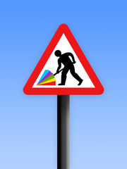 Umbrella sign with blue background