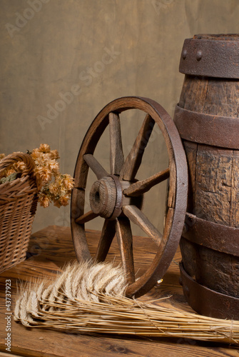 retro still life with barrel and barley