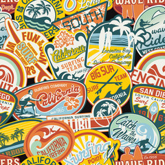 California vintage stickers seamless pattern