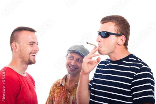 Happy guys smoking hashish - 43738389