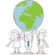 Geschäftsleute, Weltkugel, Teamwork