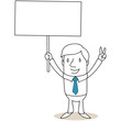 Geschäftsmann, Plakat, Protest, Handzeichen, Victory