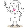 Geschäftsfrau, Erfolg, Handzeichen, Victory