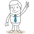 Geschäftsmann, Handzeichen, Victory