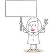 Geschäftsfrau, Plakat, Protest, Handzeichen, Victory
