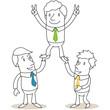 Geschäftsleute, Pyramide, Handzeichen, Victory
