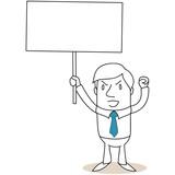 Geschäftsmann, Plakat, Protest, Faust