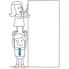 Geschäftsleute, übereinander, Plakat
