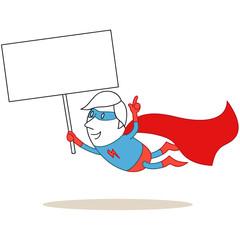 Superheld, fliegend, Schild