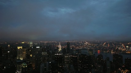 New York City Manhattan Time lapse cloudy day to night