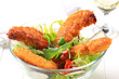 Crispy chicken tenders with salad