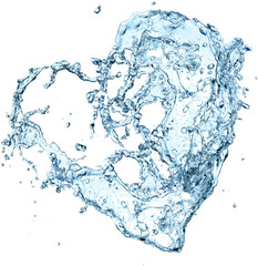 Water splash heart over white background