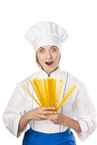 Young beautiful woman cook in the studio. White background poster