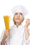 Attractive cook with Italian pasta poster