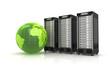 Leinwanddruck Bild - 3 Server mit grünem Globus