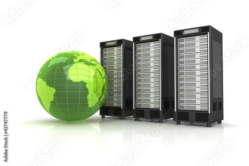 Leinwanddruck Bild 3 Server mit grünem Globus