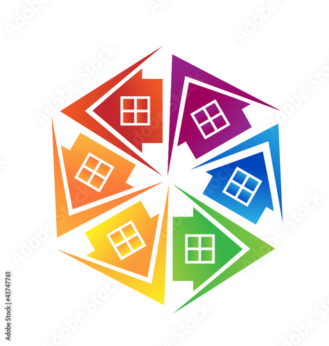 Real estate houses logo design vector