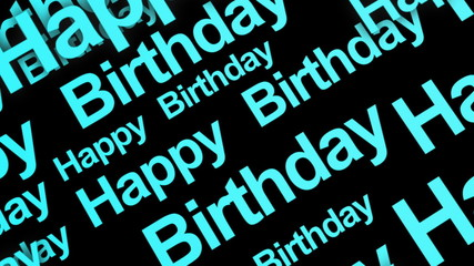 Happy Birthday Text Blue Looping Animated Background