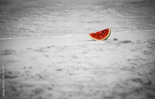 Watermelon isolated on the beach - 43748780
