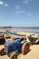 Fishing boats on beach at Cromer, North Norfolk