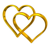 Two heart shape golden rings