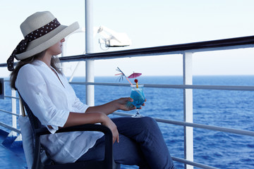 Woman relaxing during a cruise