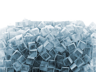 Ice Cubes isolated on white background with place for your text