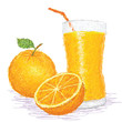 orange fruit and a glass of juice