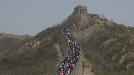 Great wall of China crowded in a foggy day