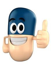 Capsule character giving a thumbsup