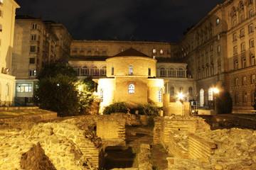 Ancient Bulgarian church bathed in lights, night shot