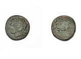 Ancient greek coin. Alexander the Great and Apollo