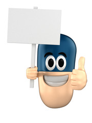Capsule character holding a placard while giving thumbsup