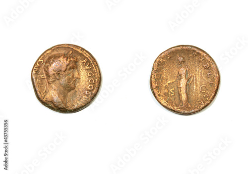 Ancient Roman coin. Emperor Hadrian and allegory