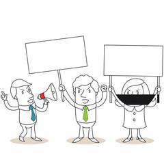 Geschäftsleute, Protest, Demonstration, Streik