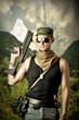 Handsome dangerous military man