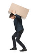 Shop assistant carries the parcel, isolated, white background