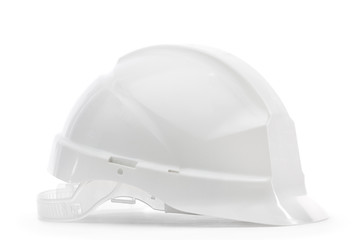 White hard hat in profile, isolated on white