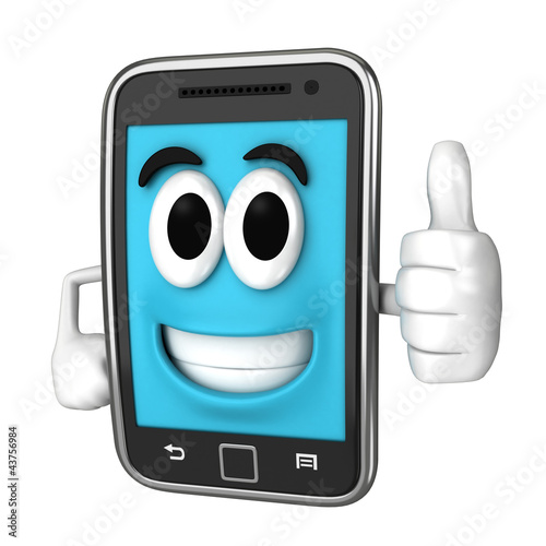 Smartphone character giving a thumbsup