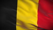 Highly detailed Belgian flag ripples in the wind. Looped