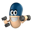 Capsule character lifting a dumbbell