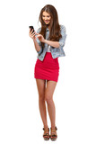 happy teenager with cellphone isolated on white