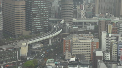 Osaka public transportation during rain time, Japan