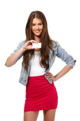 portrait of a card holder teenager